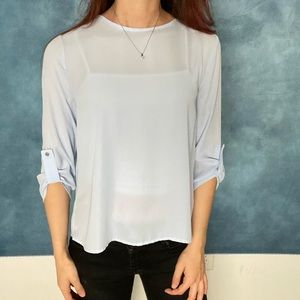 💙 Forever 21 blue & sheer chic blouse top! 💙